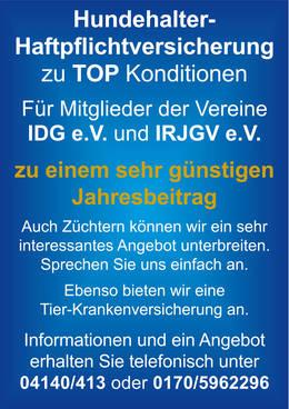 Hundehalter-Haftpflichtversicherung zu Top-Konditionen für Mitglieder der Vereine IDG e.V. und IRJGV e.V. ab einem Jahresbeitrag von € 57,60 pro Tier!